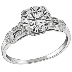 1.52 Carat Round Brilliant Cut Diamond Platinum Engagement Ring