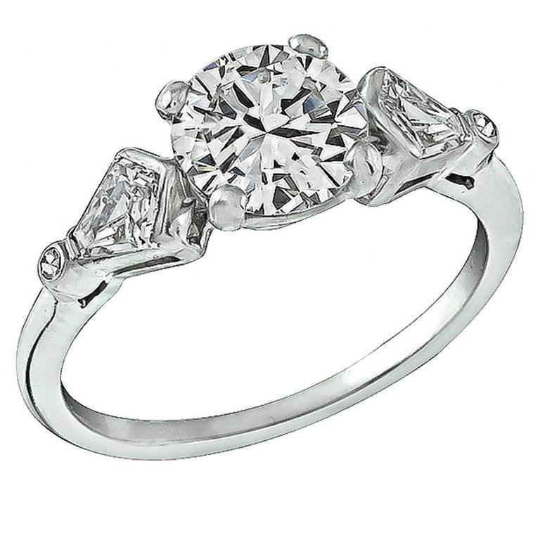 1920s GIA Cert 1.28 Carat Diamond Platinum Engagement Ring