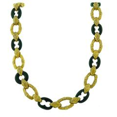 1970s Onyx Gold Link Necklace