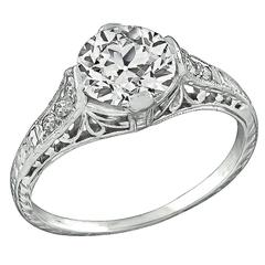 Edwardian 1.53 Carat GIA Cert Old European Cut Diamond Platinum Ring