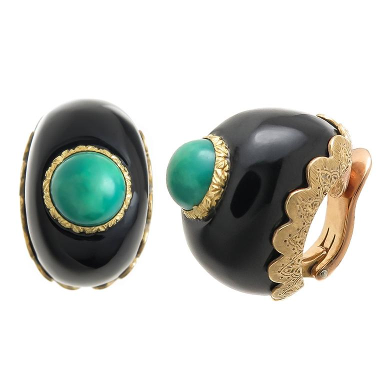 1970s Buccellati Black Onyx Turquoise Gold Earrings
