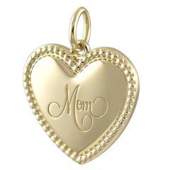 """Tiffany & Co. Gold """"Mom"""" Heart Charm"""