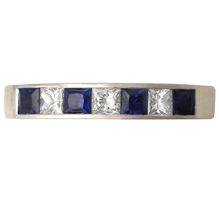 1950s Sapphire & Diamond Yellow Gold White Gold Set Ring