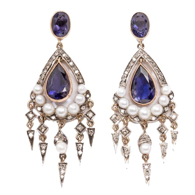 Antique Sapphire Diamond Silver Gold Dangle Earrings For Sale