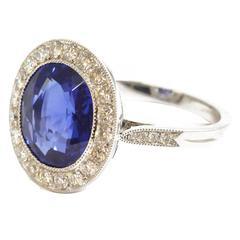 6.27 Carat Sapphire Diamond Platinum Cluster Ring