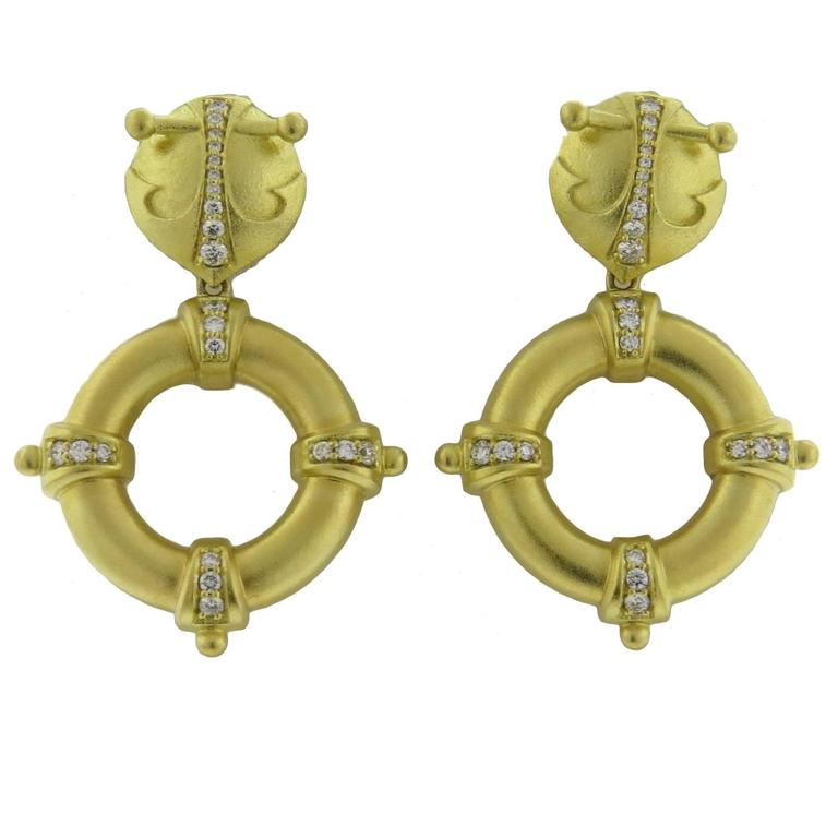 Paul Morelli Diamond Gold Drop Earrings