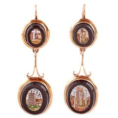 Early 20th Century Italian Mosaic Gold Drop Earrings