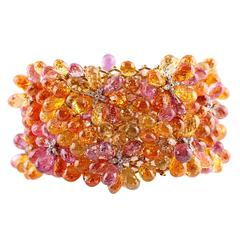 Nicholas Varney 500 carat Briolette Multicolor Sapphire Diamond Gold Bracelet