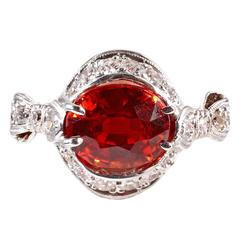 Mandarin Garnet Diamond Platinum Ring