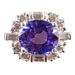 Tanzanite Diamond Platinum Cluster Ring