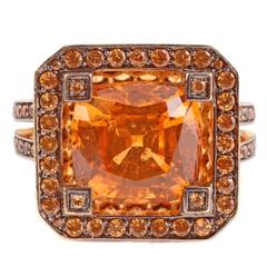 "Solange Mandarin Garnet Blackened Gold ""Cup"" Ring"