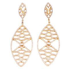 Deborah Pagani Cognac Diamond Gold Dangle Earrings