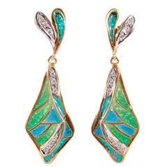 Iberjoya Enamel Diamond Gold Dangle Earrings