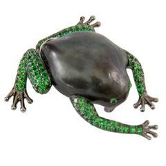 Tahitian South Sea Pearl Tsavorite Garnet Gold Frog Statement Brooch Pin