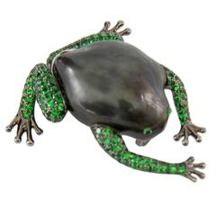 Tahitian South Sea Pearl Tsavorite Garnet Gold Frog Brooch Pin