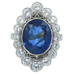 Ceylon Blue Sapphire Diamond Gold Ring