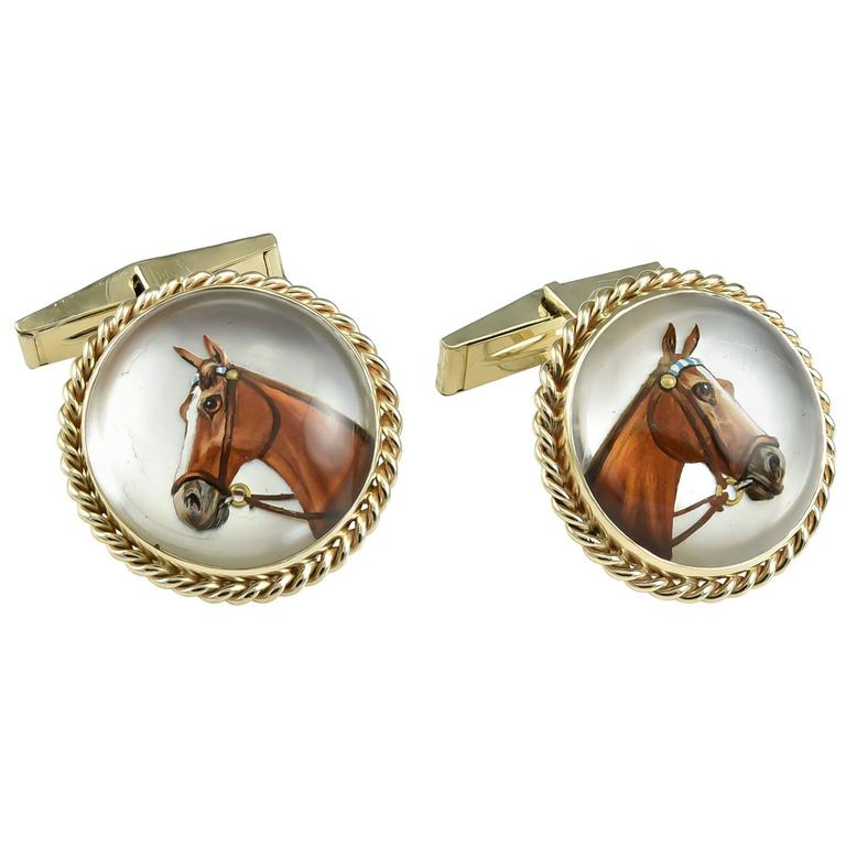 Large Reverse Crystal  Gold Horse Cufflinks