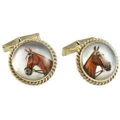 Large Reverse Crystal  Gold Horse Cufflinks
