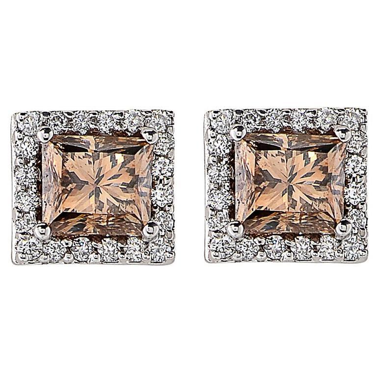 2.28 Carat Fancy Color Diamond Gold Stud Earrings