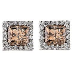 2.28 Carat Fancy Color Diamond Gold Stud Earrings