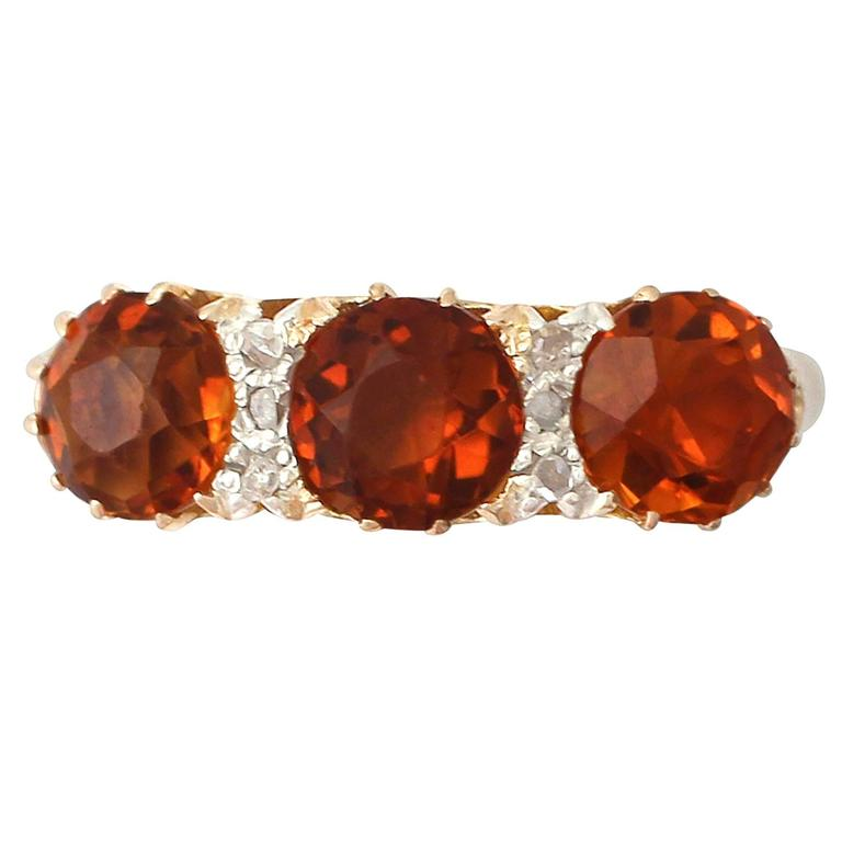 1930s Antique 2.76 Carat Citrine & Diamond Yellow Gold Cocktail Ring
