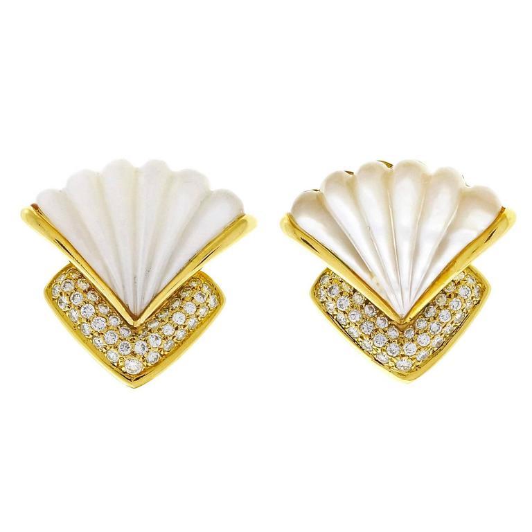 Gemlok Diamond Mother of Pearl Pave Gold Clip Post Earrings