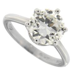 Jona 2.19 Carat Round Cut Diamond 18k White Gold Solitaire Engagement Ring