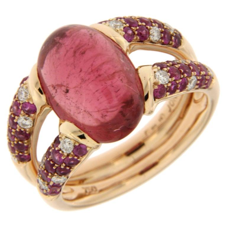 Alex Jona Pink Tourmaline Sapphire 18k Rose Gold Ring For Sale