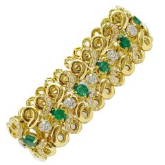 Chantecler Capri Emerald Diamond Gold Bracelet, 1999