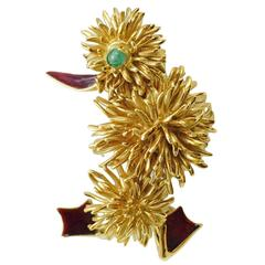 1980s Kutchinsky 18 Karat Gold, Enamel and Emerald Duck Brooch