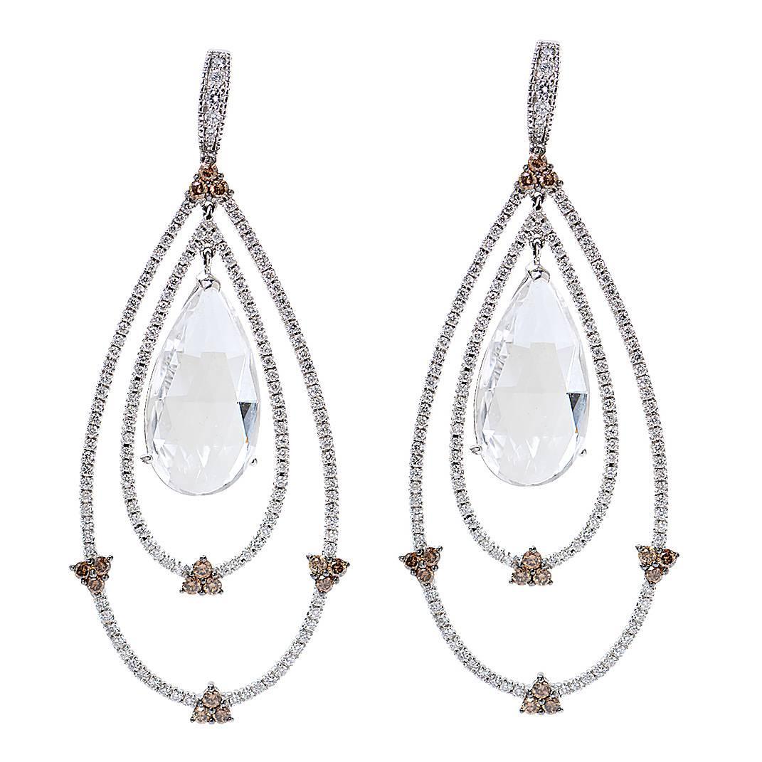 24.99 Carat Diamond Quartz Earrings