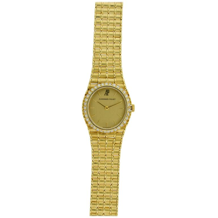 Audemars Piguet Ladies Yellow Gold Bamboo Bracelet Dress Style Quartz Wristwatch