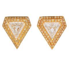 Fancy Cut Diamond Gold Triangle Earrings