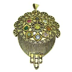 Nine-Stone Nava Ratna Gold Pendant
