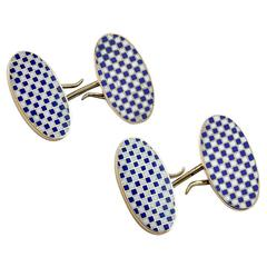 Checkerboard Enamel Gold Cufflinks