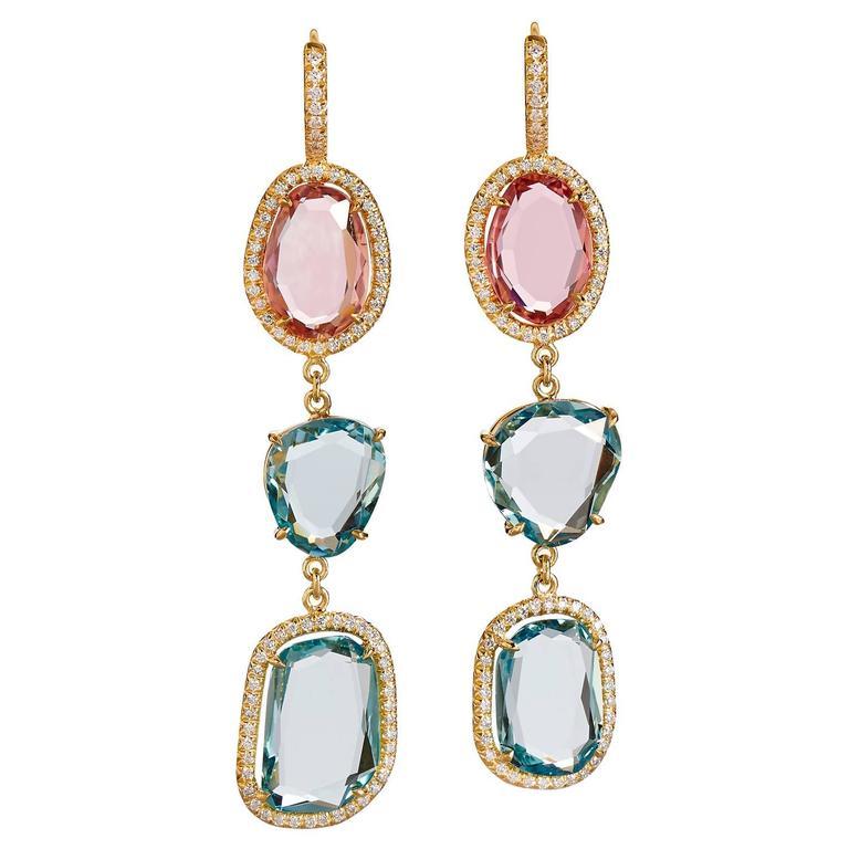 Aquamarine Pink Tourmaline Slice Gold Drop Earrings