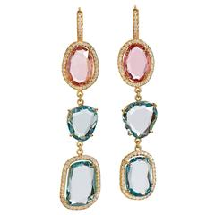 Aquamarine Pink Tourmaline Slice Gold Drop Earrings