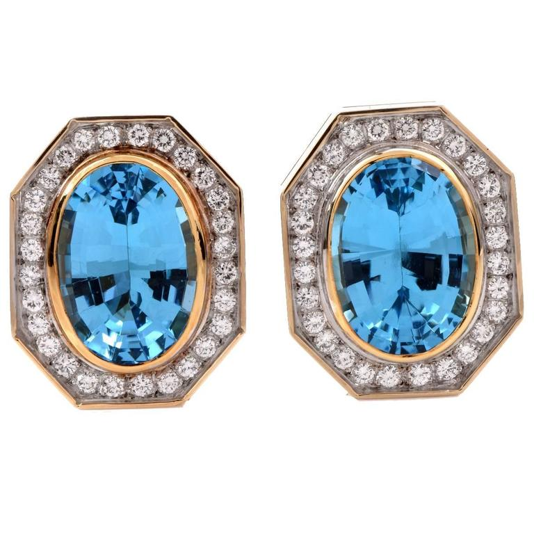 Retro Blue Topaz Diamond Gold Stud Clip-on Earrings