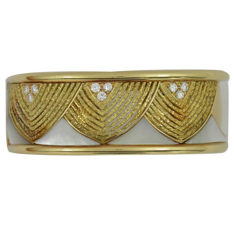 Mother of Pearl Diamonds Gold Cuff Bracelet