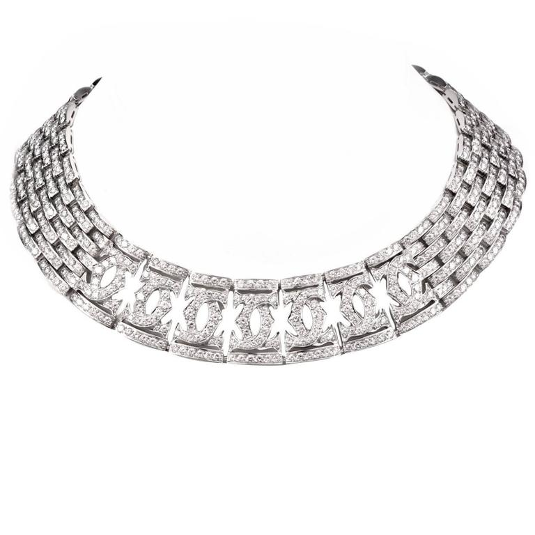 Cartier Double C Diamond Gold Choker Necklace 1