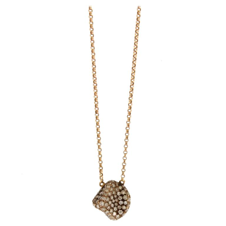 Jona Brown Diamond Pebble 18 Karat Rose Gold Pendant Necklace