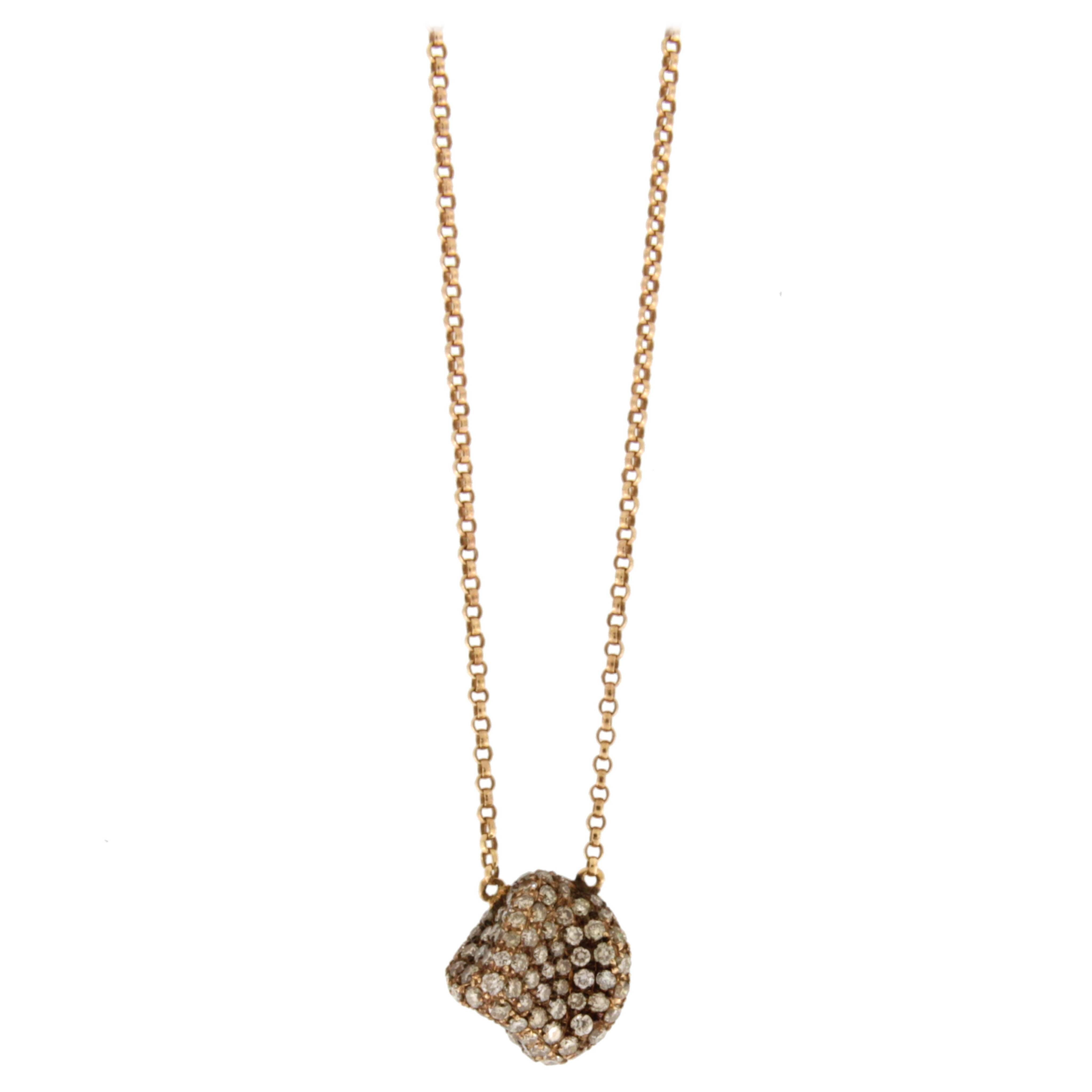 Jona Brown Diamond Pebble 18 Karat Rose Gold Pendant Necklace