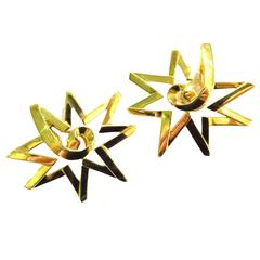 Stunning Paloma Picasso Tiffany & Co. Huge Star Motif Gold Clip Earrings