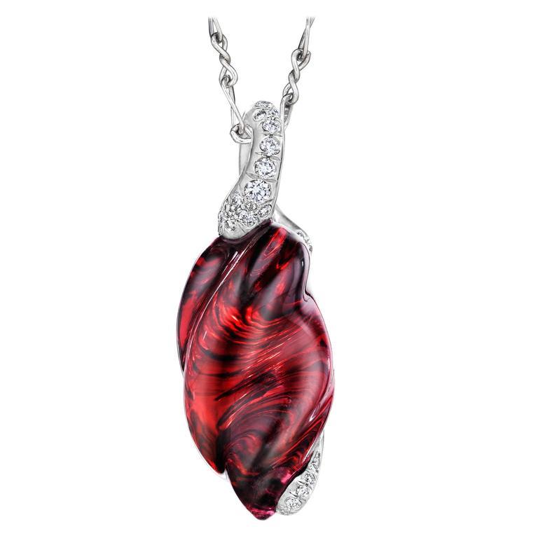Naomi Sarna Rhodolite Garnet Diamond Gold Pendant For Sale
