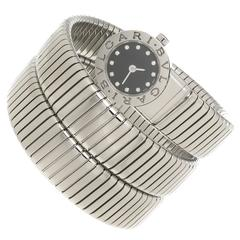 Bulgari Stainless Steel Serpenti Quartz Snake Bracelet Wristwatch