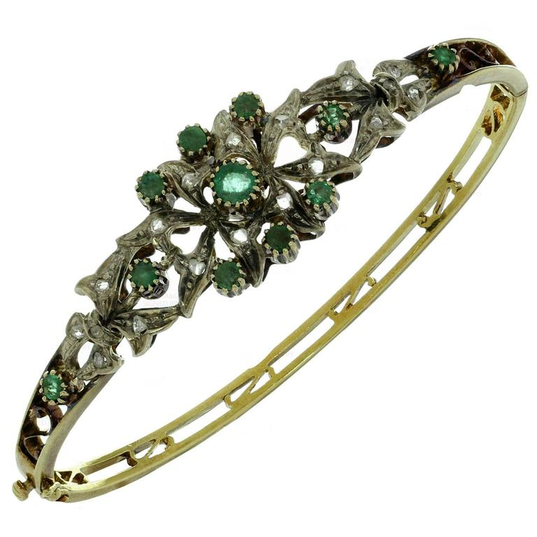 1950s Emerald Rose-Cut Diamond Sterling Silver Gold Bracelet 1