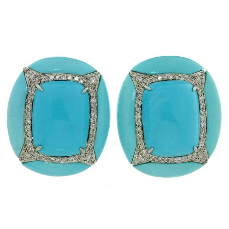 Diamond Turquoise Gold Clip-on Earrings For Sale