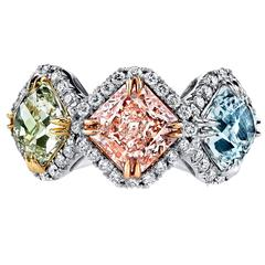 Natural Fancy Color Pink Blue and Green Three Stone Diamond Gold Platinum Ring