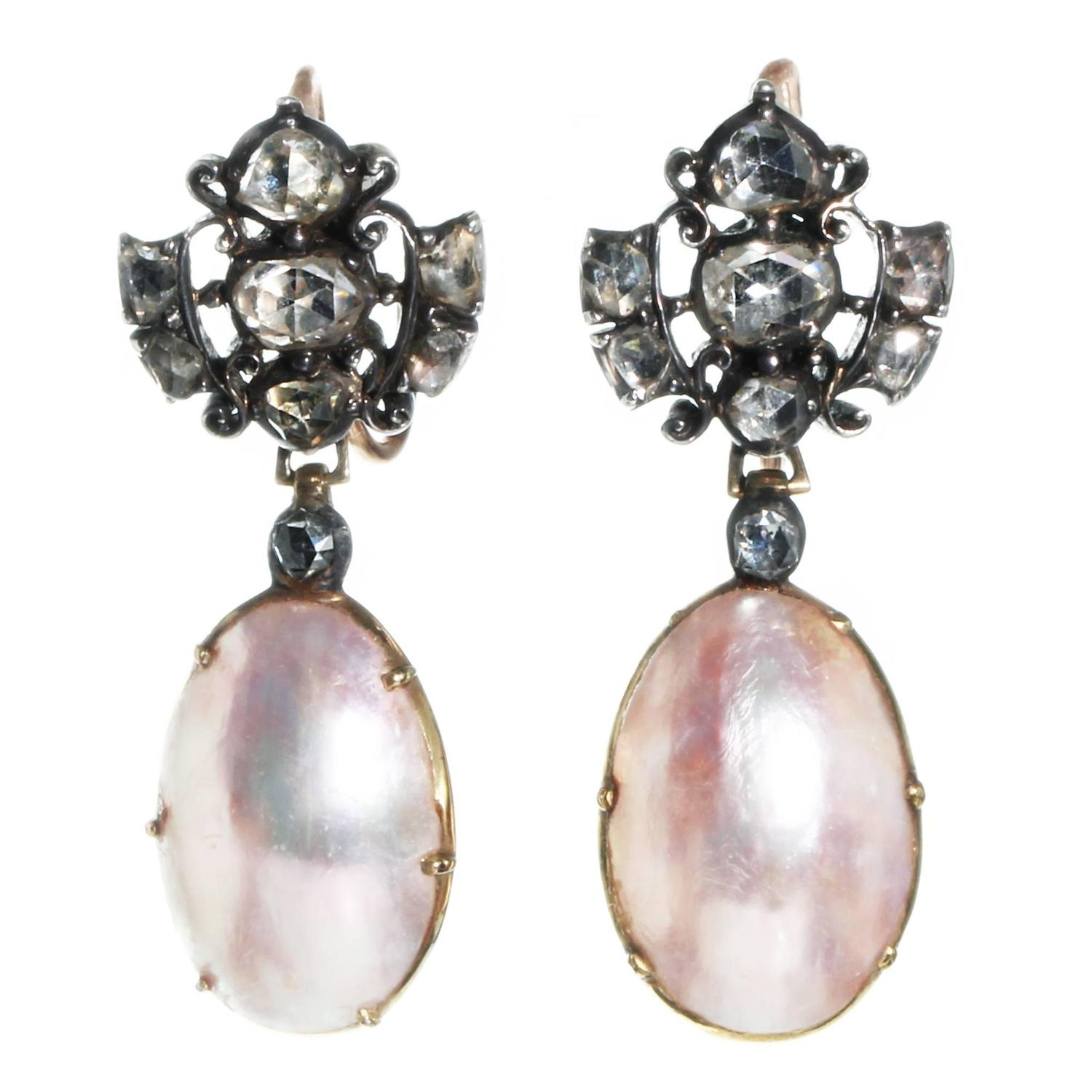 18th Century Blister Pearl Diamond Silver Gold Earrings at 1stdibs
