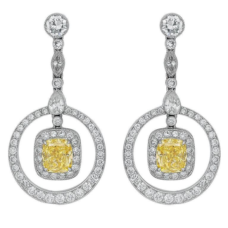 Canary Diamond Platinum Drop Earrings